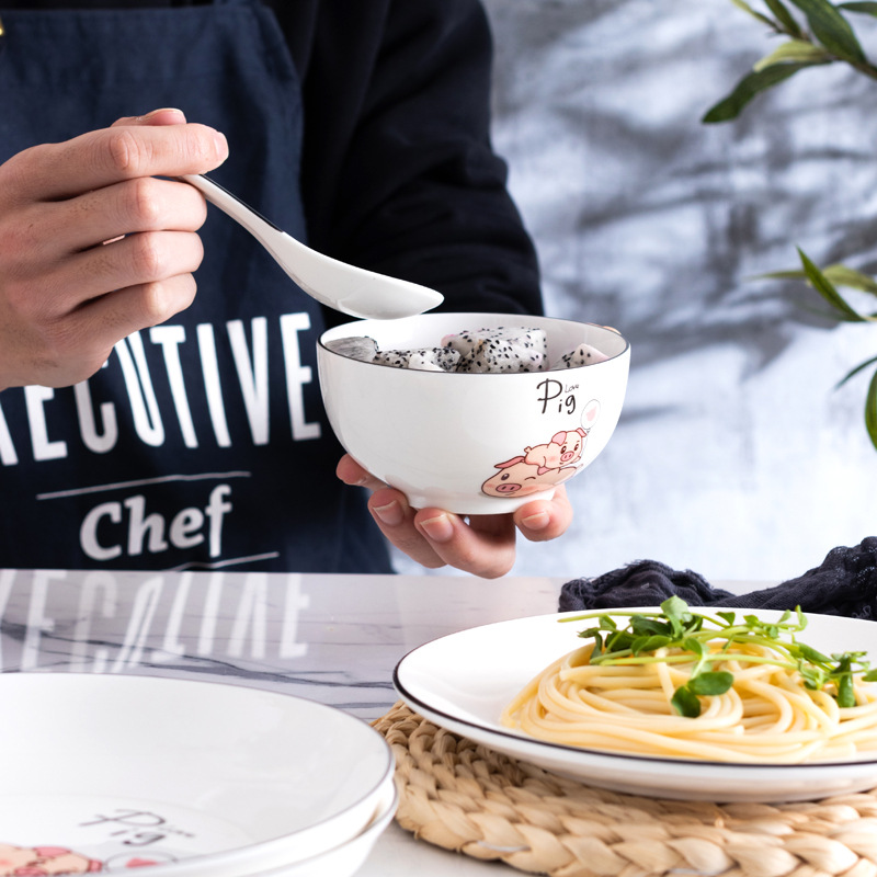 Креативная керамическая посуда в стиле педикюра в северных европейских стилях, настраиваемая миска со Свинкой из мультфильма, тарелка и ло...
