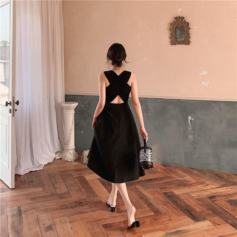 Mulheres verão sexy vestido elegante estilo hepburn sem mangas voltar cruz midi uma linha vestido de festa 2019 novo preto vestidos