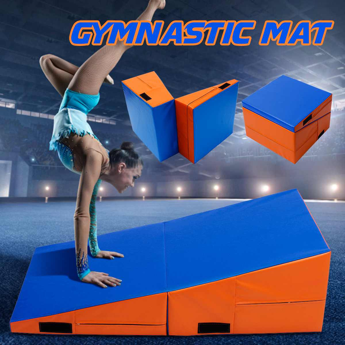 Foldable Incline Gymnastics Mat PU Foam Filling Skill Tumbling Gymnastics Mat Ramp Safe Exercise Fitness Equipment 3 Sizes