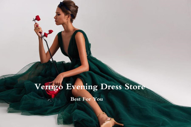 Verngo Modern Dark Green Tulle A Line Long Evening Dresses Sheer Neck High Side Slit Sexy Prom Gowns Women Special Occasion Wear 5