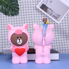 Silicone Key Wallets Pencil Bag Cute 3D Cartoon Pencil Case Large Capacity School Supplies Stationery Pen Box Women Bear Wallet