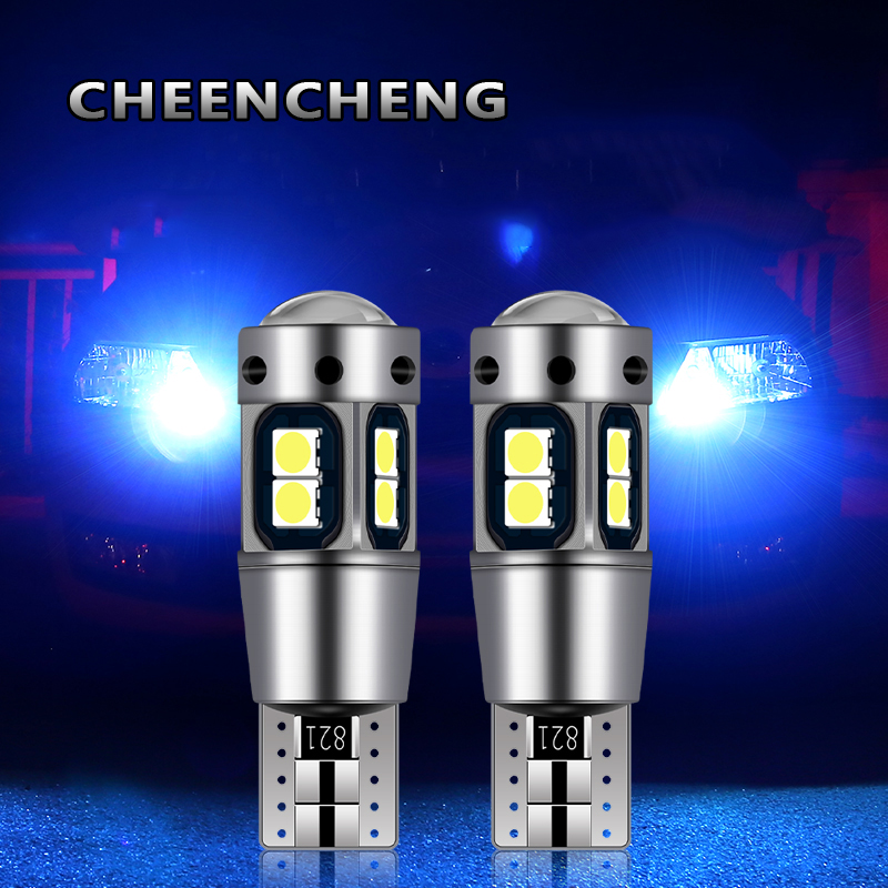 2pcs <font><b>T10</b></font> W5W <font><b>LED</b></font> light bulbs for cars signal lights 10SMD CANBUS Bulb without Error lamps projector lens Car styling accessories image
