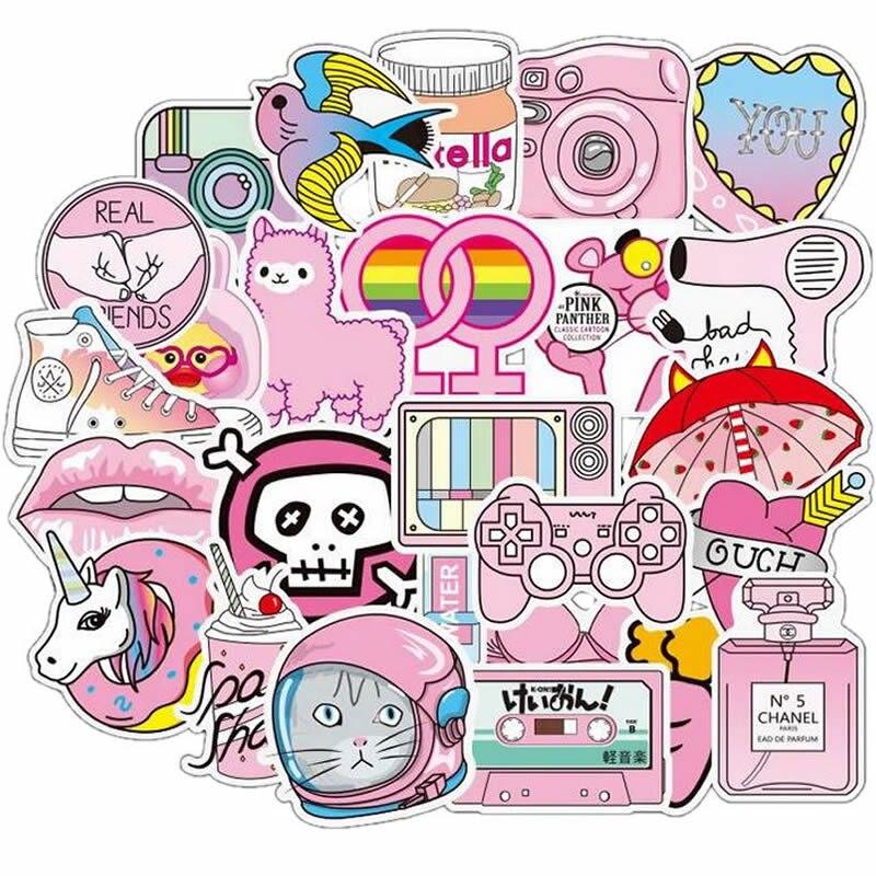 10/30/50pcs Pack Cartoon Animal Pink Unicorn Cat Stickers Waterproof PVC Skateboard Luggage Guitar Laptop Vsco Sticker Kids Toys