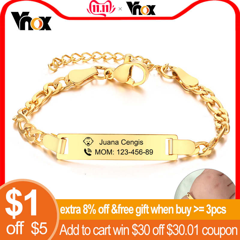 Vnox Kids Safety Information Personalzied Bracelets For Baby Stainless Steel Girl Boy Emergency Contact Jewelry Amazing Price