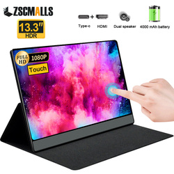 13.3 Inch Portable Monitor with Touch Screen + Battery 1080p FHD IPS Display for Cell Phone Laptop PC Gaming Xbox Ps4 USB C HDMI