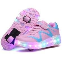 HYFMWZS/детская обувь с светодиодный подсветкой; детские роликовые коньки; два колеса; коньки для мальчиков и девочек; Chaussure; Зарядка через usb; 28-42