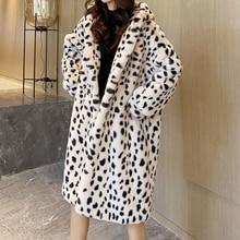 Women Fashion Hooded Warm Parkas Jackets Korean 2021 Imitation Fur Leopard Print Coats Women Winter Stylish Casual Loose Jackets