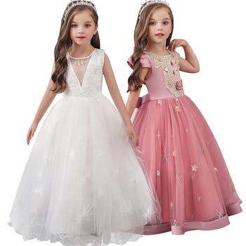 Vestido bordado de boda para niñas de 3-14 años de alta calidad, vestido de fiesta de princesa nuevo, vestido Formal sin mangas de tul de seda