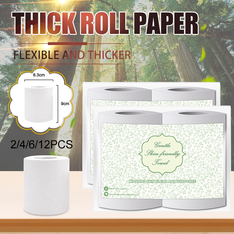 2/4/6/12 Rolls Toilet Paper Tissue 4 Layers White Soft Skin-Friendly For Bathroom Home FS99