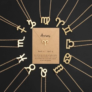 With card 12 Zodiac Sign Necklaces For Women Gold Horoscope pendant chains Choker Fashion Jewelry Gift Dropshipping