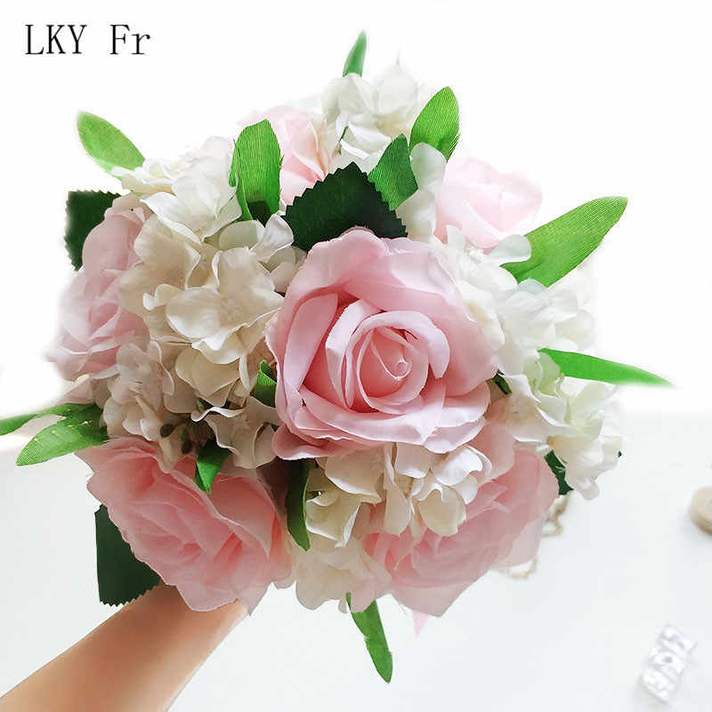 LKY Fr Wedding Bouquet Silk Roses Bridal Bouquet Artificial Flowers Wedding Bouquets for Bridesmaid Decor Marriage Accessories