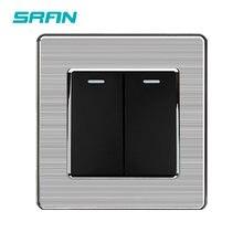 Sran uk 2gang 1way rocker switch, interruptor de luz 250v 16a, painel de borda de prata de aço inoxidável, 86mm * 86mm branco/preto/dourado