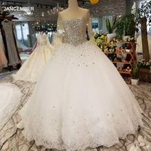 LSS029 כבד קריסטל יפה חתונה שמלת מהיר חינם o צוואר ארוך שרוול תחרה עד בחזרה זול פשוט שמלת 2018 מסין