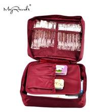 Livraison gratuite Kit de premiers soins de voyage en plein air rouge vin sac de maison petite boîte médicale kit de survie d'urgence traitement Camping en plein air