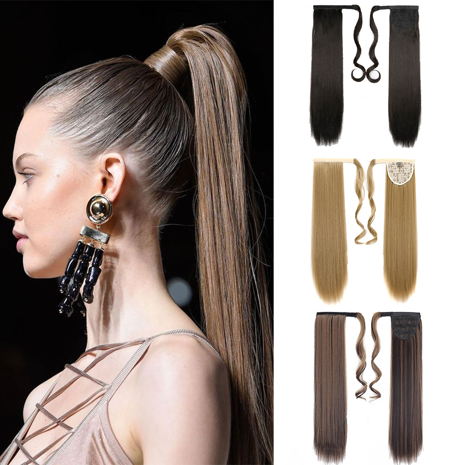 BUQI 24 Inch Silky Straight Synthetic Wrap Around Ponytail Hairpieces For Women Hair Extension High Temperature Fiber