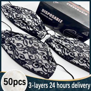 50pcs Lace Disposable Printed Mask 3-layer Non-woven Filter Breathable Multi-color Optional Black  Mascara for Adult