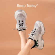 Chunky Sneakers Trainers Platform Women Casual-Shoes Mesh Lace-Up Beautoday 29356 Mixed-Colors