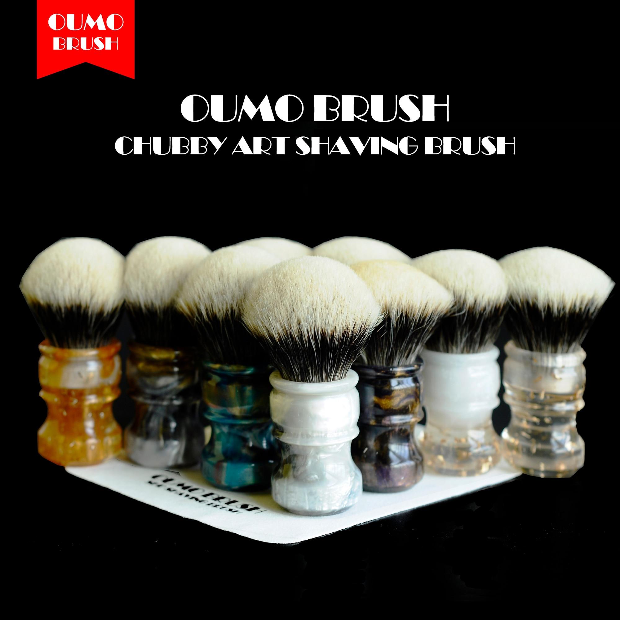 OUMO BRUSH  2019/8/1 CHUBBY  Art shaving brush with SHD fan Manchuria badger knot gel city 26MM-in Shaving Brush from Beauty & Health