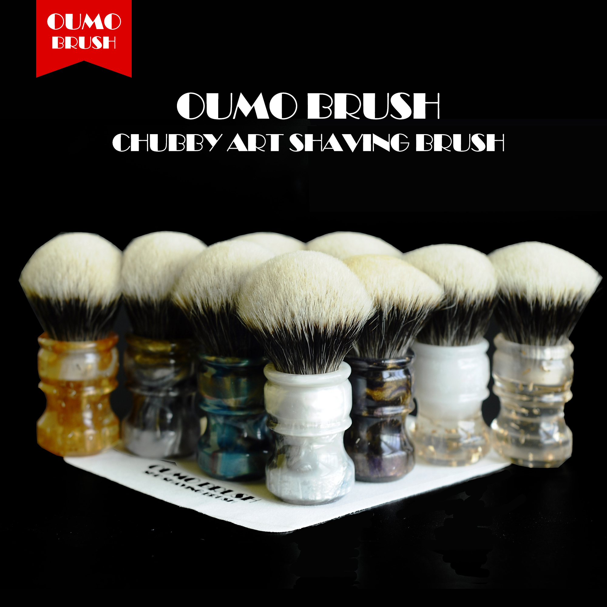 OUMO BRUSH- CHUBBY  Art Shaving Brush With SHD Fan Manchuria Badger Knots  Gel City 26MM