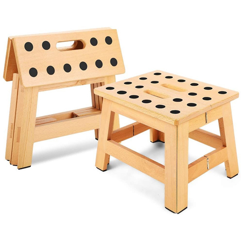 Foldable Wooden Stool Step Stool 8.8' Height for Adults & Kids Kitchen Garden Camping Fishing Small Benches Holds up to 300 Lbs