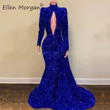 Royal Blue Sequined Long Sleeves High Neck Mermaid Prom Dresses