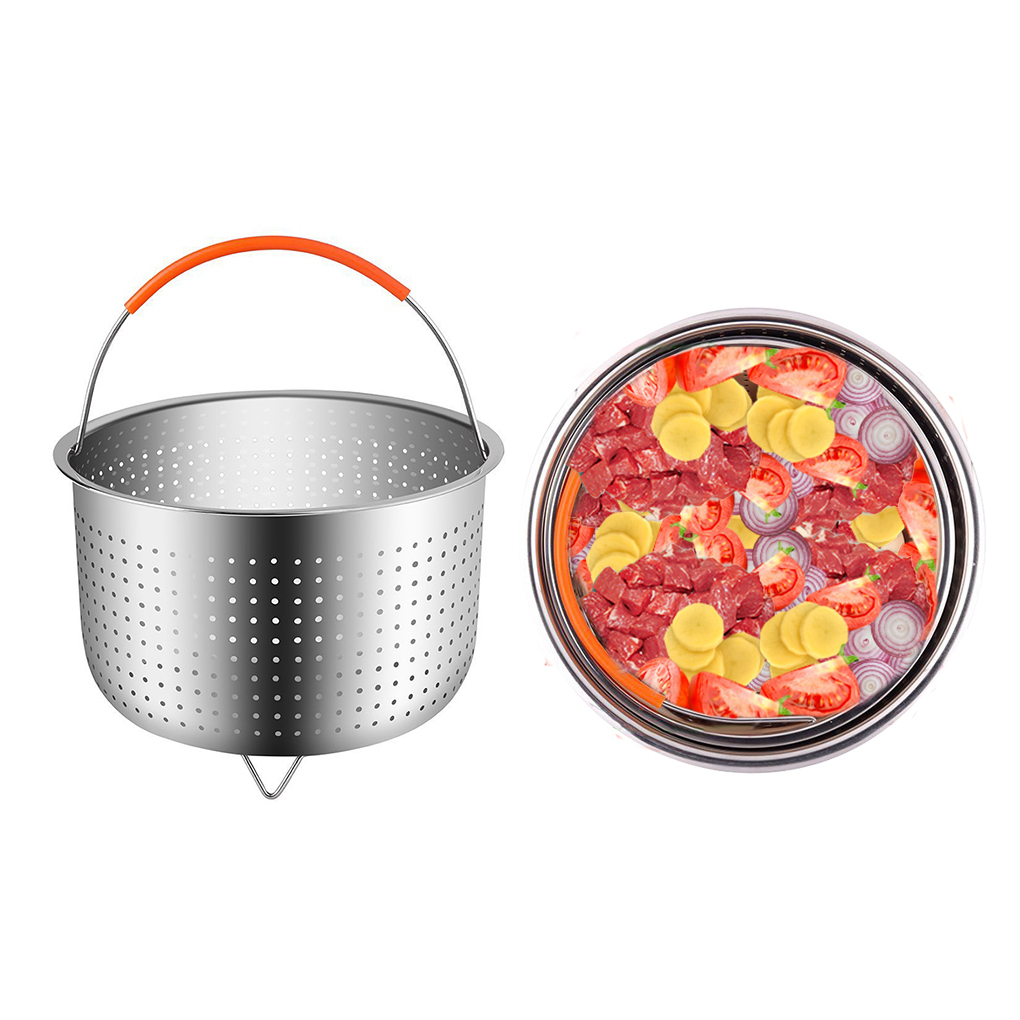 New 304 Stainless Steel Rice Cooking Steam Basket Pressure Cooker Anti-scald Steamer Multi-Function Fruit Cleaning Basket