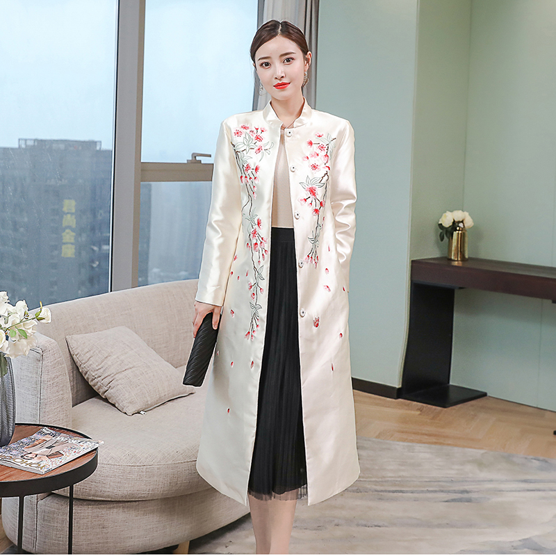 2020 Long Dress Traditional Chinese Style Women Cotton Embroidery Female Hanfu National Clothing Ancient Costume Robe Coat