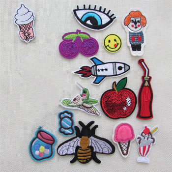 16pcs jacket Cartoon high quality fashion patches hot melt adhesive applique embroidery patches stripes DIY clothing accessory image