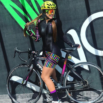 Triathlon skinsuit para bicicletas, traje de triatlo para ciclismo personalizado, manga longa, conjunto de roupas para estrada 1