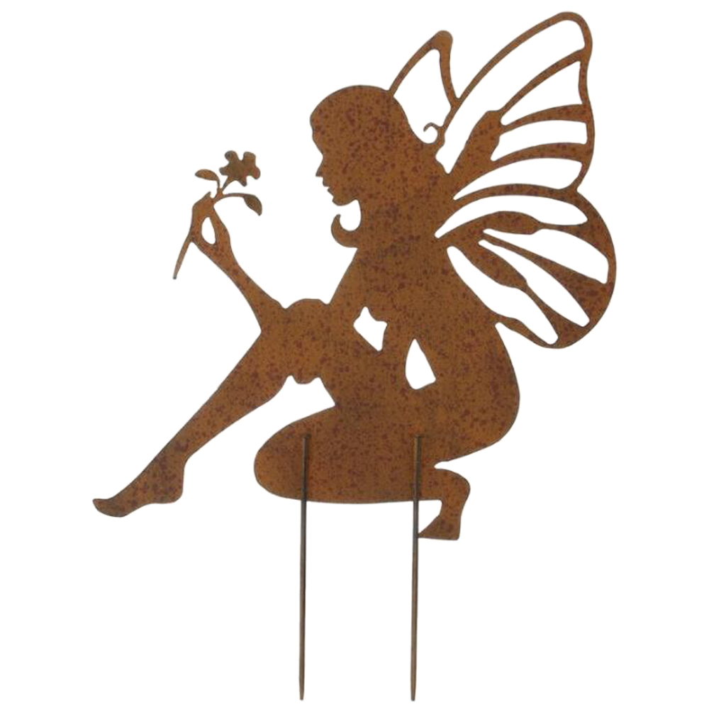 Rustic Angel Fairy Garden Stakes Decorations Outdoor Metal Lawn Yard Patio Decor Accessories Decorative Stakes & Wind Spinners     - title=