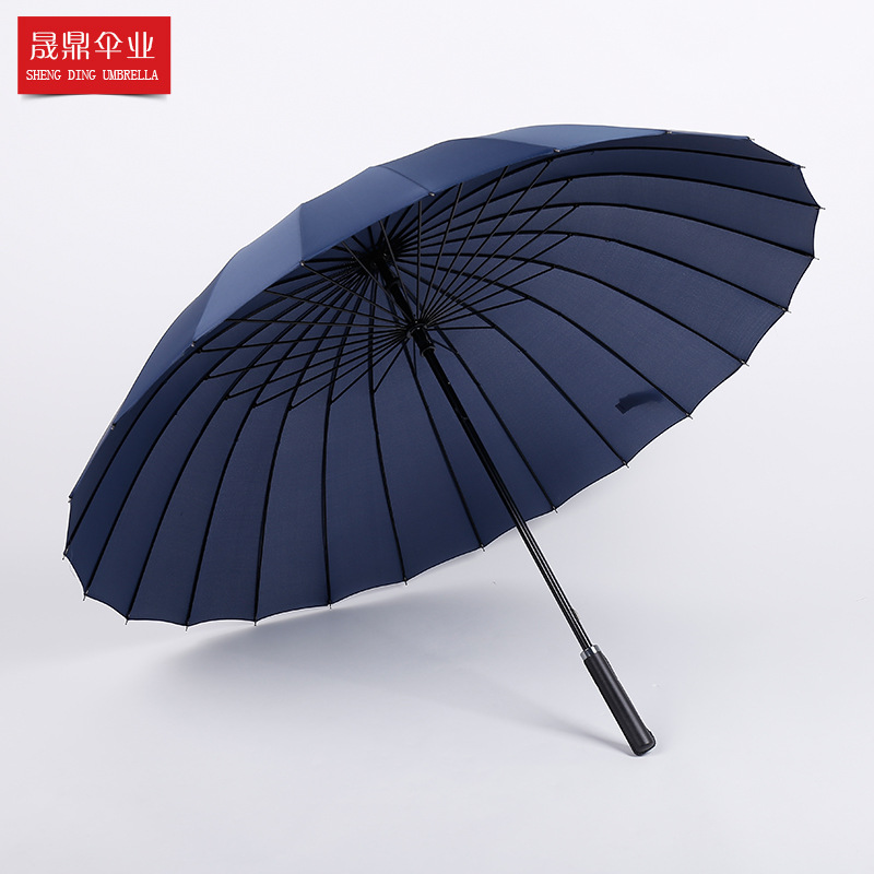 Customizable Oversized 24 Bone Long Handle Straight Pole Business Umbrella Wholesale Windproof College Style Sun-resistant Busin