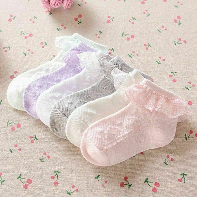 2020 New Kid Girl Cute Lace Ruffle Socks Toddler Baby Girls Lace Ruffle Frilly Ankle Socks Princess Anti Slip Tutu Socks