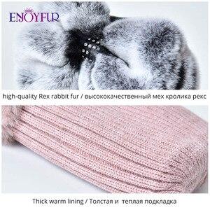 Image 5 - Sombrero de piel de Invierno para mujer, gorro de piel de conejo rex natural, diseño de lazo, gorros de moda, sombreros de piel de invierno rusos