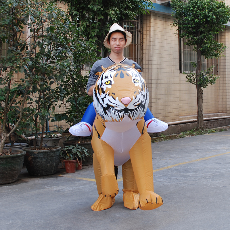 Cosplay INFLATABLE TIGER FANCY DRESS COSTUME SAFARI ZOO SUIT halloween Costume for Women Men Inflatable Tiger