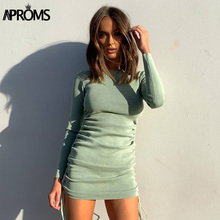 Mini Dresses Aproms Long-Sleeve Vestidos Ruched Bodycon Elegant Winter Women Autumn Solid-Color