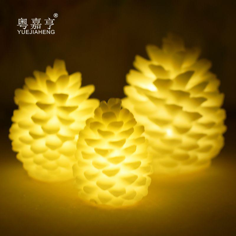 2019 New Table Light Warm White Ornaments Electric Candle Pine Cone Flameless Night Light Home Decoration Candles Eco-friendly