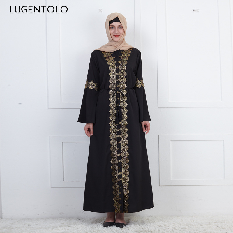 Lugentolo Women Vintage Dress Embroidered Fashion Muslim Loose Big Swing Bell Sleeve Black Cardigan Abaya Lady Maxi Dresses