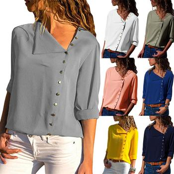 Spring Loose Chiffon Blouses Women Long Sleeve Blouses Shirt Diagonal Buttons Plus Size Blouses Solid Color Womens Top Blouses фото