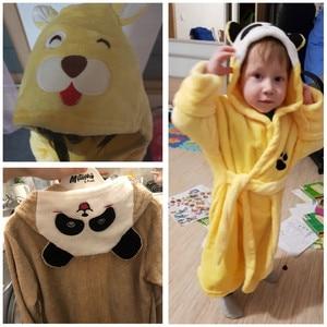 Image 5 - Automne hiver vêtement de nuit pour enfants Robe flanelle à capuche peignoir chaud enfants pyjamas pour garçons et filles belle bande dessinée animaux Robes