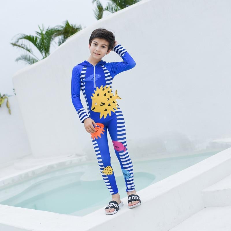 2019 New Style KID'S Swimwear Men And Women Children One-piece Swimming Suit Cartoon Children Diving Suit Jellyfish Service Sun-