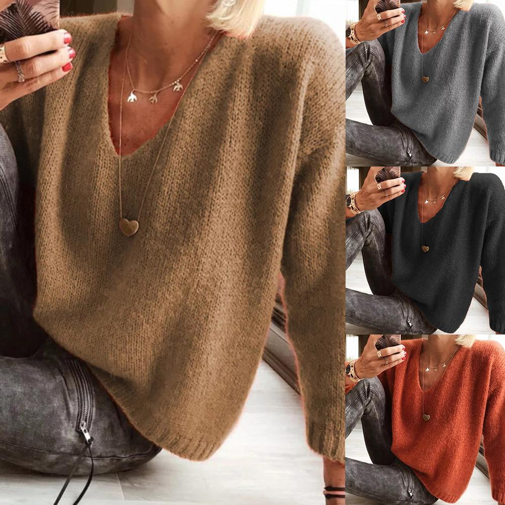 Casual Women Ladies Autumn Winter Long Sleeve V Neck Solid Color Loose Knitwear Sweater Top