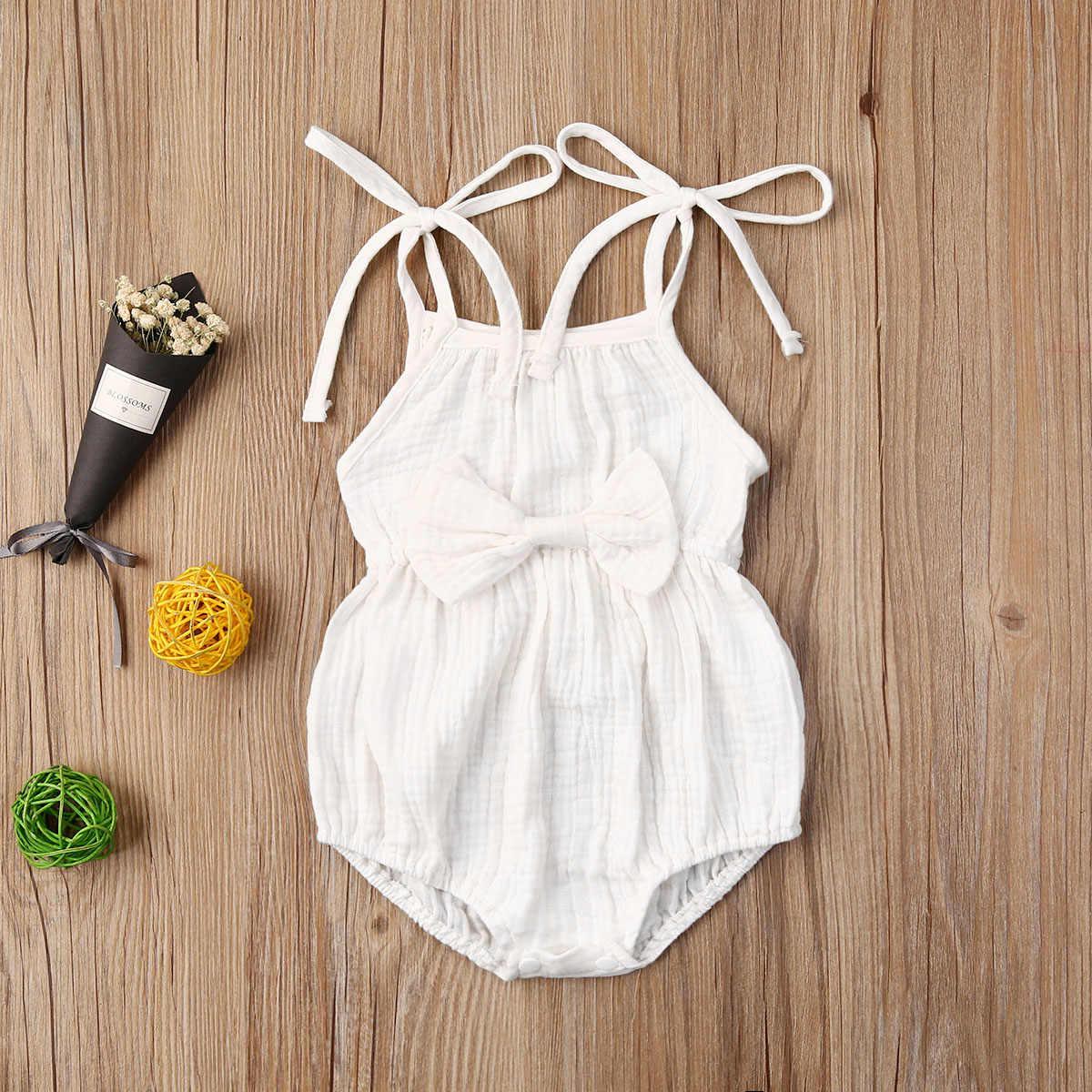 2020 Baby Sommer Kleidung Neugeborenen Baby Mädchen Nette Kleidung Srap Strampler Baumwolle Leinen Solide Overall Bowknot Outfits Set Weichen