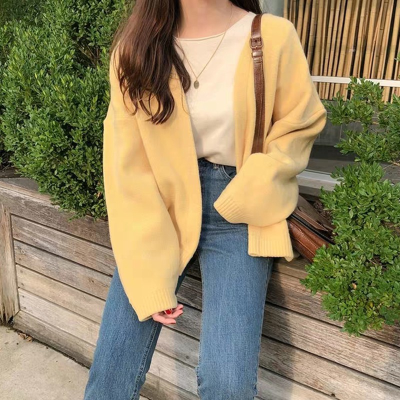 Female Solid Color Knit Cardigan Korean Style Loose Knitted Sweaters Autumn Winter Sweet Coat Long Sleeve Loose Jumper