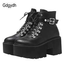 Gdgydh Autumn Winter Chunky Heel Platform Boots Lace-up Black Gothic Boots Women Plush Inside Comfortable Sexy Buckle Footwear