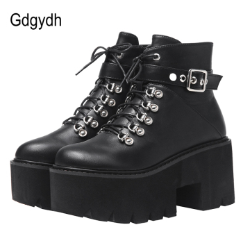 Gdgydh Autumn Winter Chunky Heel Platform Boots Lace-up Black Gothic Boots Women Plush Inside Comfortable Sexy Buckle Footwear 2019 new sexy winter boots suede platform ankle boots ladies chunky high heel boots women shoes zip black fur plush boat mujer