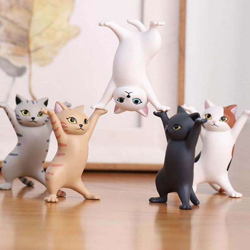 5Pcs/set Dancing Cat Kids Funny Toys Gift Cartoon Cat Coffin Dance Figure Doll Animals Car Birthday Cake Decor Desktop Ornaments