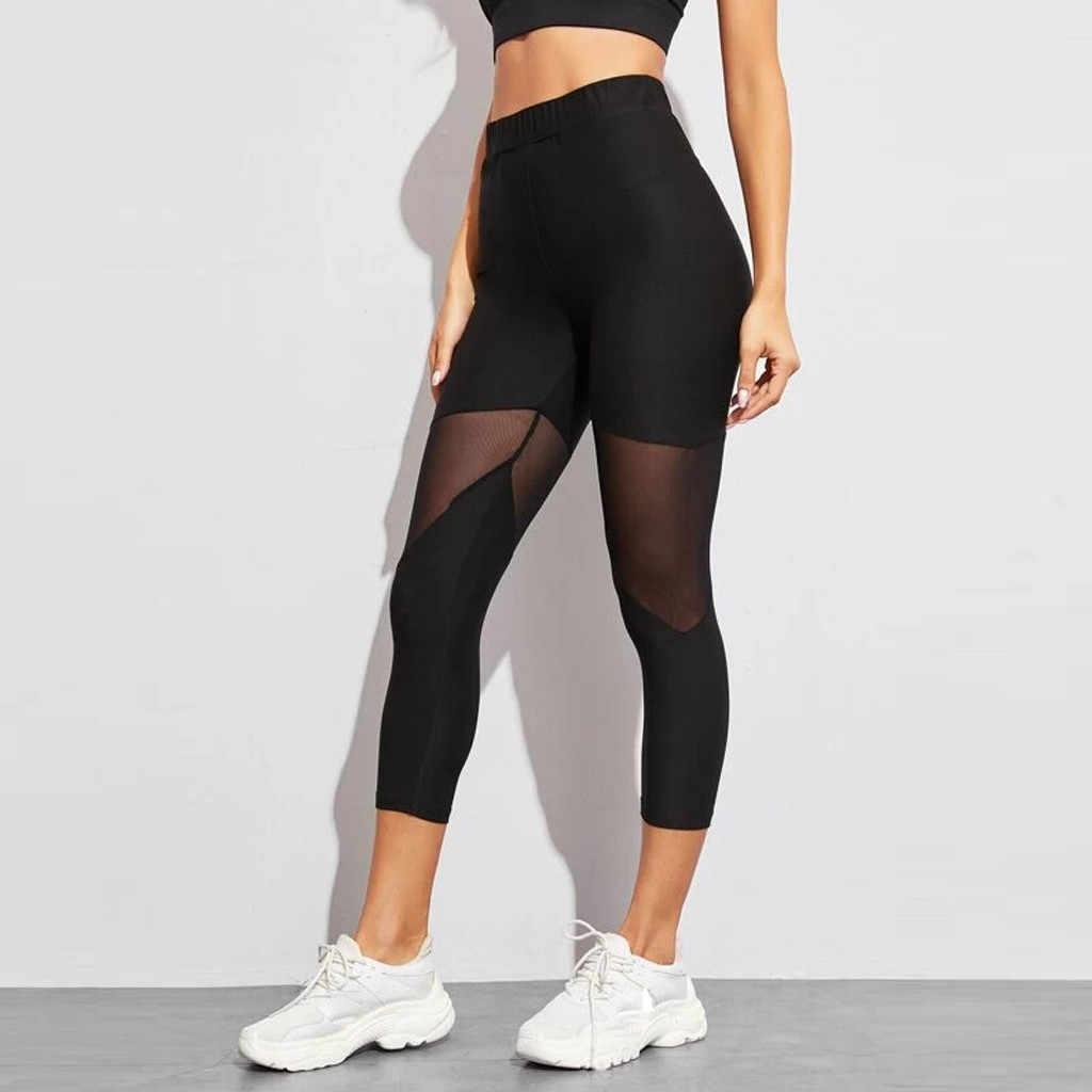 Wanita Mesh Patchwork Sport Legging Pinggang Tinggi Celana Solid Pakaian Olahraga untuk Wanita Gym Push Up Celana Plus Ukuran & D