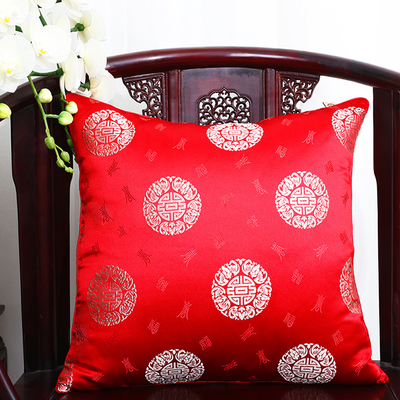 Чехол для подушки для автомобильного стула с цветами 40x40 см 45x45 см 50*50 60*60 китайские красочные диванные Декоративные Чехлы для подушек, шелковая атласная наволочка - Цвет: red round