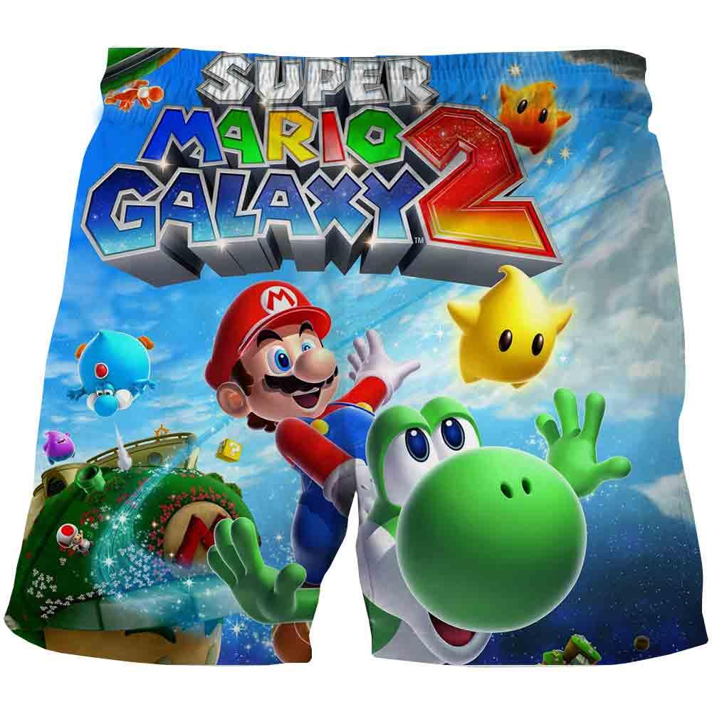 Спортивные шорты для мальчиков, повседневная одежда с 3D принтом Марио, шорты из полиэстера, для начинающих ходить детей, лето