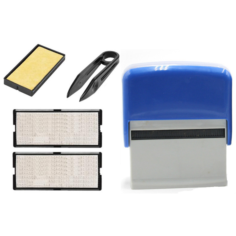 Self Inking Stamp Set Custom Personalised DIY Business Name Number Address Printing Rubber Stamp With Tweezers Kit Blue